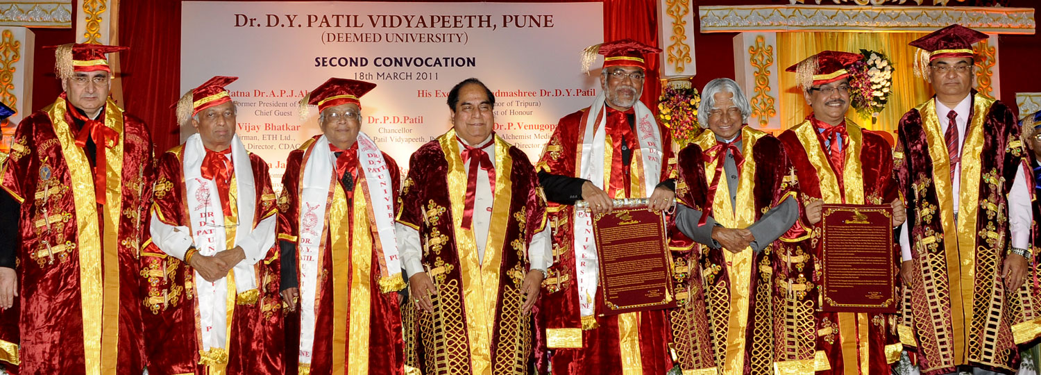 Dr. D. Y. Patil Vidyapeeth, Pune, held its Second Convocation on Friday, March 18, 2011