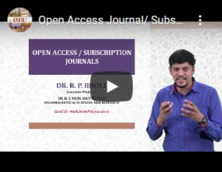 Open-access Journal/subscription Journals - Dr. Ritesh Bhole